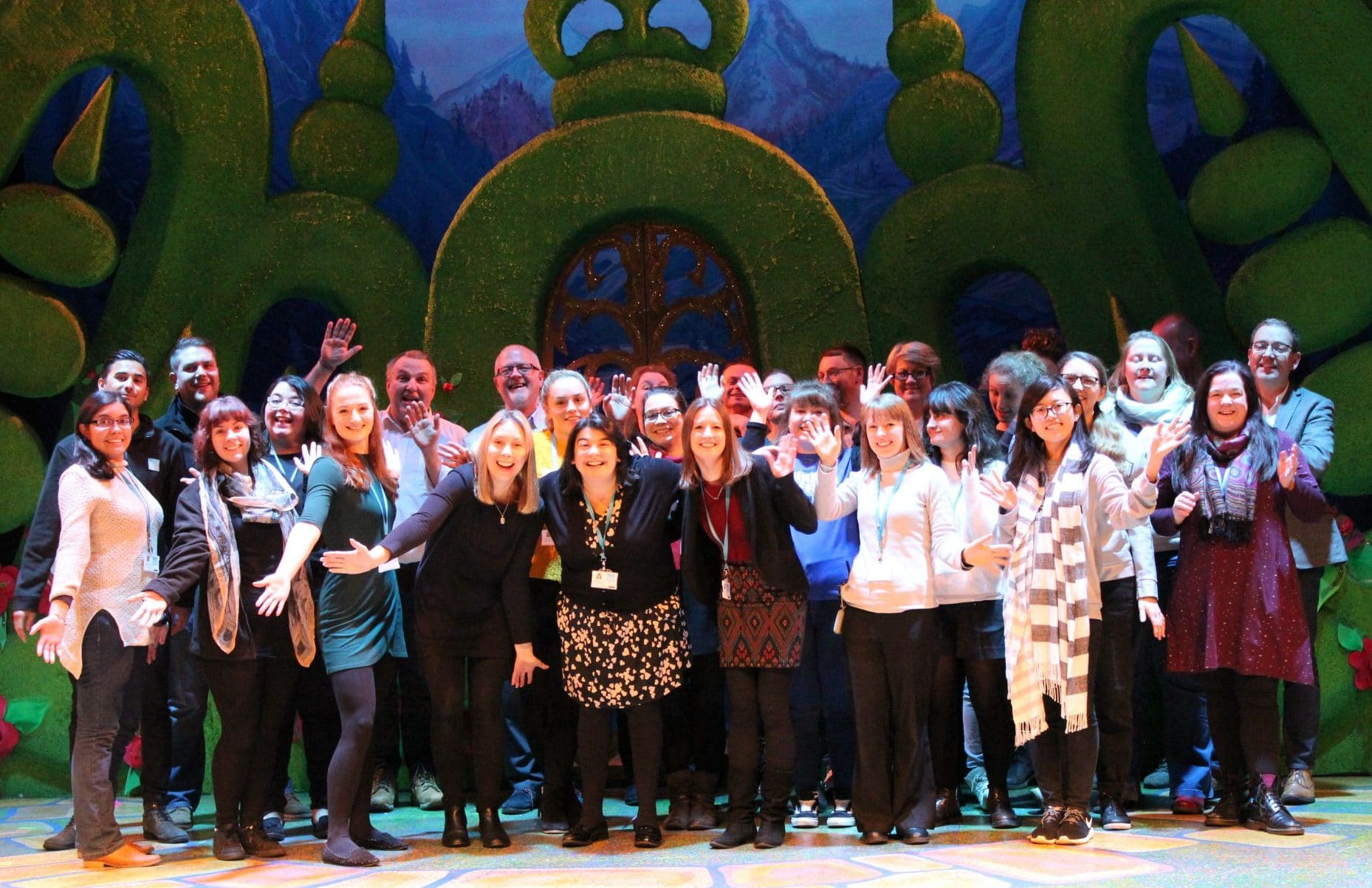 The Mercury staff in front of the panto set