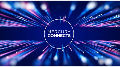 The Mercury Connects logo on a backdrop of lights.